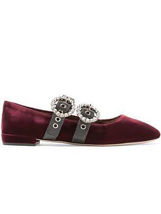 efa175ec337d Delivery  free. Miu Miu Miu Miu Woman Crystal-embellished Leather-trimmed  Velvet Ballet Flats Burgundy Size