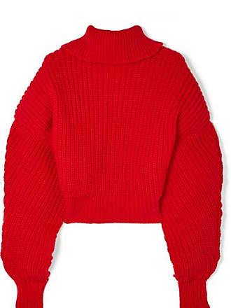 A.W.A.K.E. Cropped Oversized Wool Turtleneck Sweater - Red