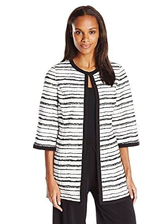 Kasper Womens Printed Stripe Jacquard Topper Jacket, Black/White, 6