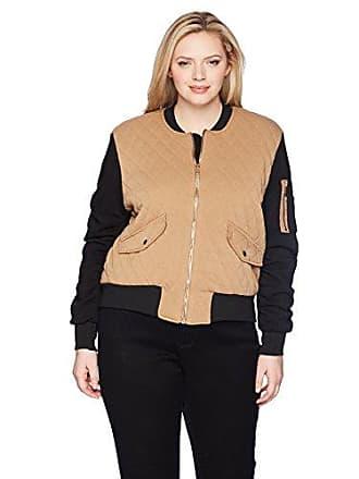 Yoki Womens Plus Size Quilted Fleece Bomber Jacket, Camel 1X