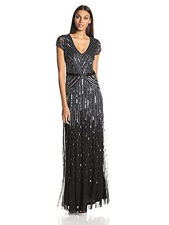 01b0b13021 Adrianna Papell Womens Long Beaded V-Neck Dress With Cap Sleeves and  Waistband