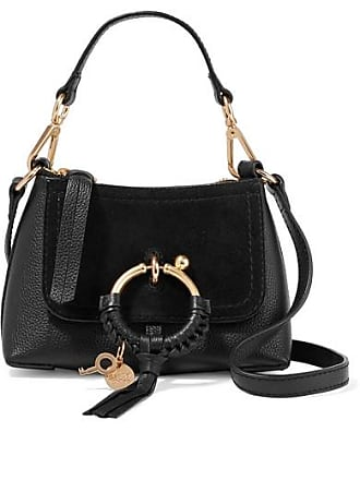 86150a141dd47 See By Chloé Joan Mini Suede-paneled Textured-leather Shoulder Bag - Black