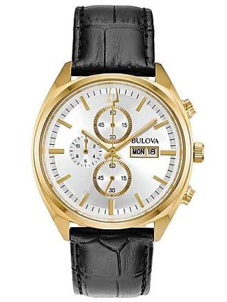 Zales Mens Bulova Surveyor Chronograph Gold-Tone Strap Watch with Silver-Tone Dial (Model: 97C108)