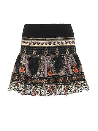 Camilla Embellished printed silk miniskirt