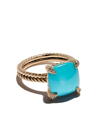 David Yurman 18kt yellow gold Châtelaine turquoise and diamond ring - 88Dtqdi