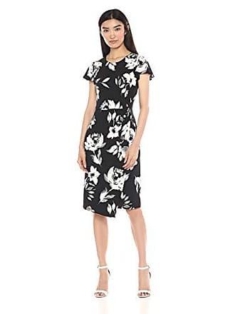 Ivanka Trump Womens Cap Sleeve Floral Printed Dress, Black/Ivory XL