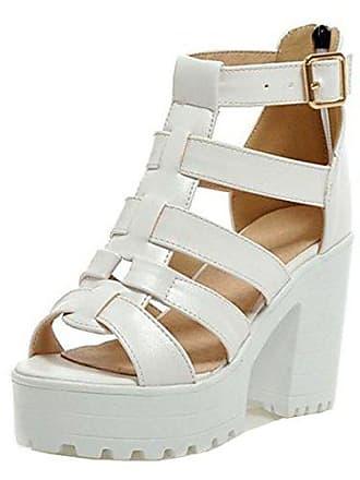 3b12b913c4ac30 RAZAMAZA Damen Mode Sommer Schule Blockabsatz Sandalen Plateau Gladiator  Zipper Schuhe (36 EU