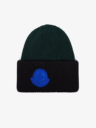Moncler black and forest green virgin wool beanie hat c2f98724f4ef