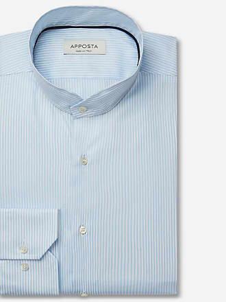 Apposta Shirt stripes cyan 100% pure cotton fil-à-fil, collar style angled band collar