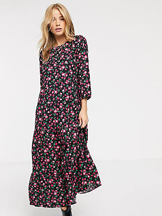 New Look tiered smock dress in pink floral-Black