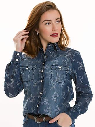Olimpo Camisaria Camisa Camisete Jeans Feminino Olimpo Floral Manga Longa