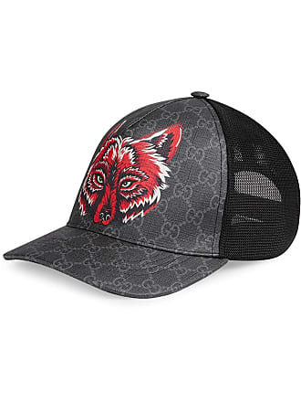 66a516efbdca4 Gucci GG Supreme baseball hat with wolf - Black