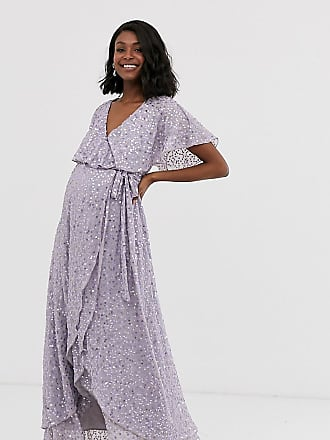 Asos Maternity ASOS DESIGN Maternity maxi dress with cape back and dip hem in scatter sequin-Multi