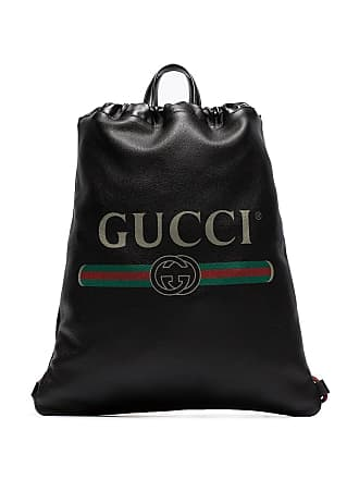 175181255a31 Gucci black logo print leather drawstring backpack