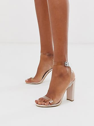 Qupid Qupid clear strap heeled sandals-Beige
