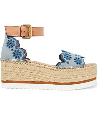97c293adc3e See By Chloé Embroidered Laser-cut Suede And Leather Espadrille Wedge  Sandals - Light blue