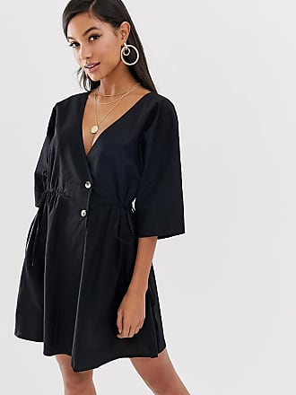 cac218fde210 Asos v front v back casual smock mini dress with buttons - Black