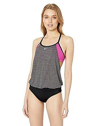 a5551313e02 Nike Swim Womens Layered Sport Tankini Swimsuit Set, Laser Fuchsia Heather  Stripe, Medium