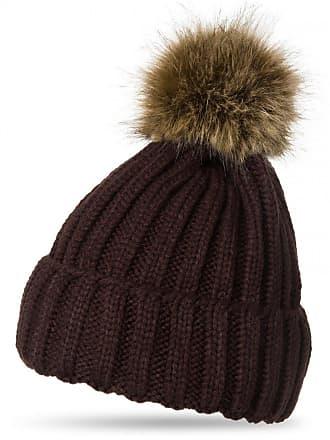 f576ba01 CASPAR Fashion CASPAR Womens Winter Rib Knitted Hat/Beanie with Chunky Faux  Fur Bobble Pom