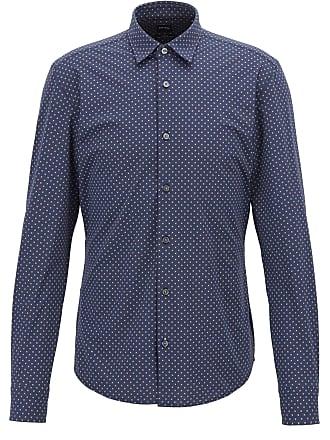 87403e27 BOSS Slim-fit shirt in geometric-print Italian jersey