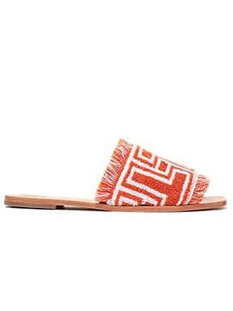 93a6296e0 Tory Burch Tory Burch Woman Fringe-trimmed Cotton-terry Slides Orange Size  9.5