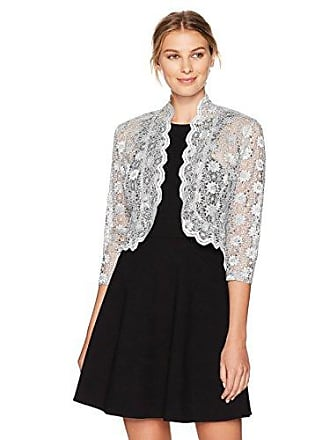 R&M Richards Womens 1 Piece Laced Jacket Shrug with Sequins in Missy in Silver, Medium
