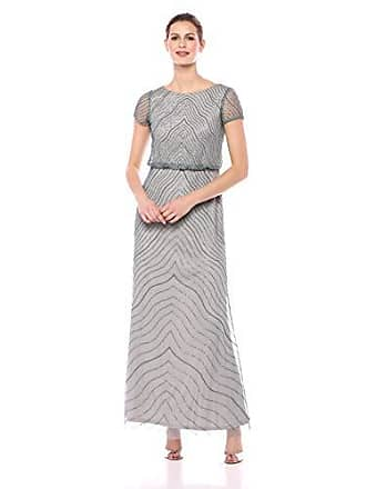 Adrianna Papell Womens Plus Size Blouson Bead Dress, Slate, 22