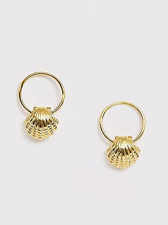 ef3f13a93 Asos sterling silver with gold plate earrings in open circle and shell  design