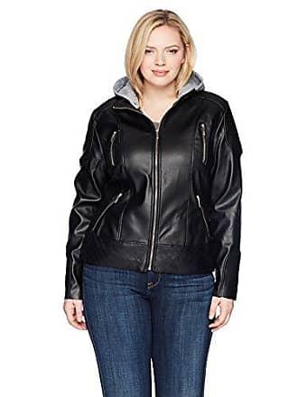 Yoki Womens Plus Size Pu Jacket with Multiple Zippers and Fleece Hoody, Black 1X