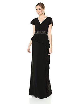 Adrianna Papell Womens Draped Jersey Dress with Cascading Ruffle On Skirt, Black 6