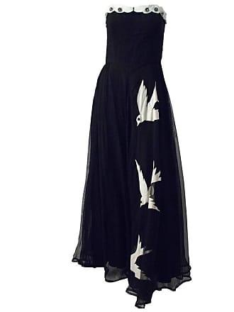 cd52b3d75fc 1stdibs 40s Strapless Black Chiffon White Bird Gown