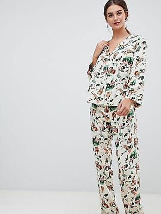 2273bed09670a Asos Tall ASOS DESIGN Tall safari print traditional pyjama set - Cream
