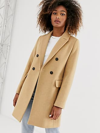 Stradivarius double-breasted tailored coat in camel-Beige