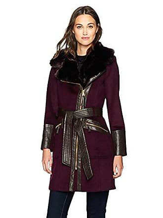 Via Spiga Womens Kate Mid-Length Belted Wool Asymmetric Zip Front Coat with Faux Fur Collar, Wine, 8