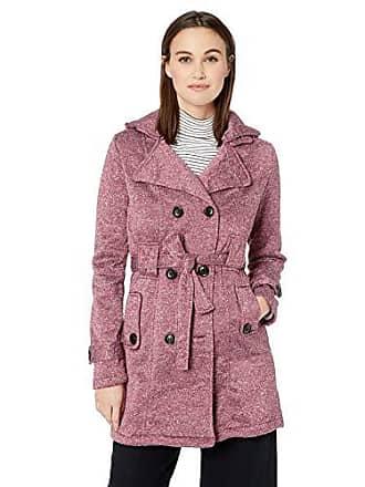 Yoki Womens Double Breast Long Fleece Jacket, Burgundy Space DYE, Medium
