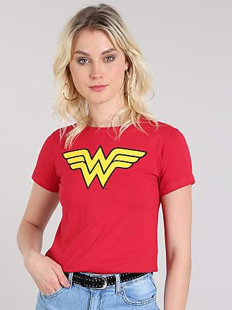DC Comics Blusa Feminina Mulher Maravilha Manga Curta Decote Redondo Vermelho