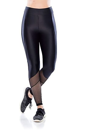 Mulher Elástica Legging Fitness Mesh - Preto - G