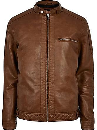River Island Mens Tan faux leather racer jacket