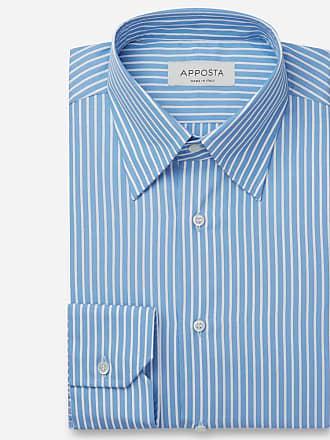 Apposta Camicia righe azzurro 100% puro cotone tela, collo stile button down con bottoni nascosti