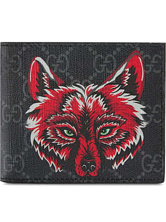 a9bffb7e7804c Gucci GG Supreme wallet with wolf - Black