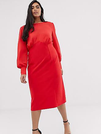 5e83d19fa96 Asos Curve ASOS DESIGN Curve - Robe fourreau mi-longue en tissus mélangés -  Rouge