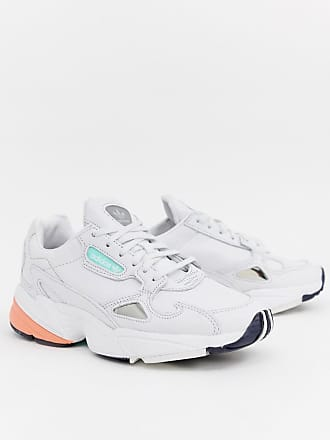 a6e33a447a7 adidas Originals Falcon Premium Leather Sneakers In White - White