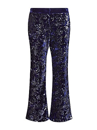 Alexis Pace Sequin Flare Cropped Pants Navy