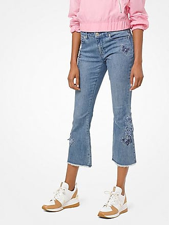 Michael Kors Butterfly Embroidered Cropped Jeans