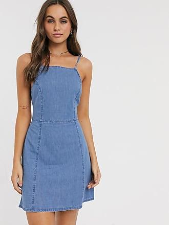 Asos Vestito a sottoveste in morbido denim lavaggio blu medio