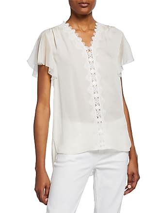 f4aebc52e20f Elie Tahari Francine V-Neck Flutter-Sleeve Silk Blouse with Scallop Lace