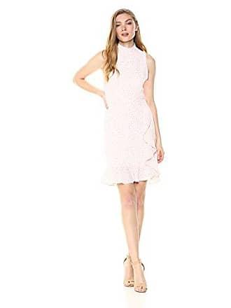 Betsey Johnson Womens Pebble Dot Crepe Dress, Ivory/Pink 8