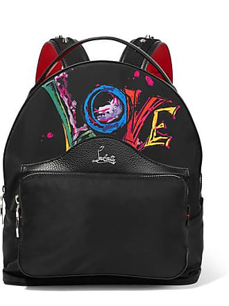 2c3beb05a995 Christian Louboutin Backloubi Studded Textured Leather-trimmed Printed  Shell Backpack - Black
