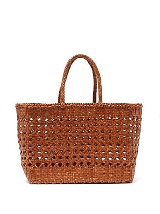 Dragon Diffusion Woven Leather Basket Bag - Womens - Tan