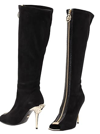 646673bc10b Versace New Versace Knee High Black Suede Boots With Gold Medusa Heel And  Open Toe